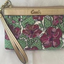 Coach Wristlet Pink & Green Flowers With Gold Accents Photo