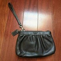 Coach Wristlet Pleated Black Leather Photo