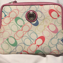 Coach Wristlet Purse Signature C Letter White Pink Multicolor Leather Spring Photo
