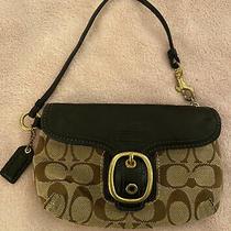 Coach Wristlet Purse Wallet Bag Clutch Signature C Canvas Brown Leather Buckle Photo