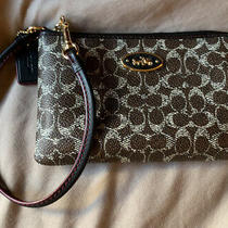 Coach Wristlet Pvc Leather Corner Zip Black Brown Red Gold Photo