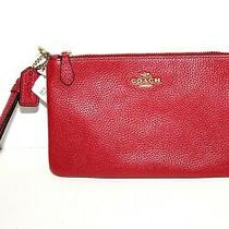 Coach Wristlet Red Apple Polished Pebbled Leather  New With Tag Msrp 75.00 Photo