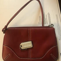 Coach Wristlet Red Leather With White  Bag Fob Photo