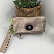 Coach Wristlet Resort Metallic Rose Gold Leather Foldover Evening Bag 42179  B12 Photo