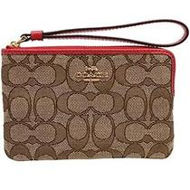 Coach Wristlet Signature C Jacquard Corner Zip Khaki/true Red Nwt F58033 Photo