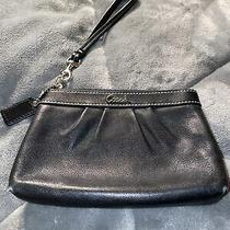 Coach Wristlet Small 6.5 X 4 Black Soft Distinctive Leather W/pleated Front Photo