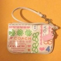 Coach Wristlet Spring Collection White With Color Print Photo