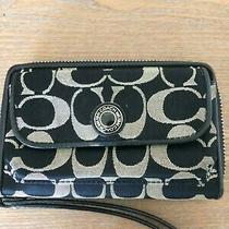 Coach Wristlet Wallet Black Taupe Zip Around Outer Pocket Inside Zip Pocket. Photo