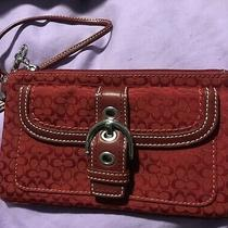 Coach Wristlet Wallet / Red With Silver Buckle Photo