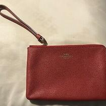 Coach Wristlet Wallet / Red With Top Zipper Photo