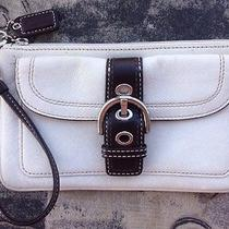 Coach Wristlet White Leather With Brown Buckle Front Compartment Photo