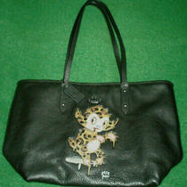 Coach X Black Leather Rare Baseman Buster City Tote Bag Very Excellent Cond Photo