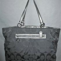 Coach X Large Gray Silver Signature Travel Tote Bag 14863 Xlnt Photo