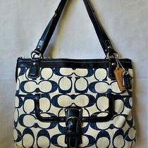 Coach X Large Poppy Signature Canvas & Leather Navy Blue Glam Tote Bag 19620 Photo