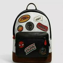Coach X Marvel Backpack Signature Canvas Patches Leather Black Panther  Photo
