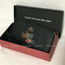 Coach X Wizard of Oz 77969b Boxed Slim Accordion Zip Wallet Black Leather Nwt Photo