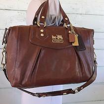 Coach Xl Madison Cognac Brown Distressed Leather Audrey Satchel Shoulder 14316 Photo