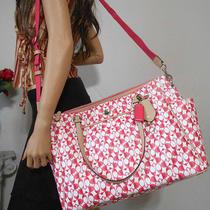 Coach Xl Pink Signature Leather Travel Laptop Diaper Shoulder Crossbody Bag Tote Photo