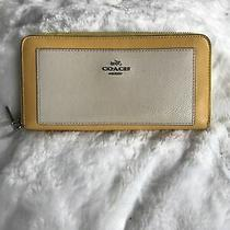 Coach Yellow/beige Leather Clutch Large Wallet Photo