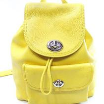 Coach Yellow Canary Pebble Leather Mini Turnlock Rucksack Backpack 295- 008 Photo