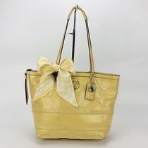 Coach Yellow Patent Leather Signature Tote Bag Handbag F19198 W/ Coach Scarf Set Photo