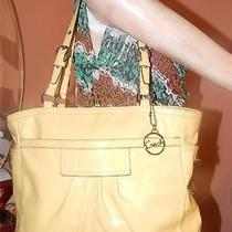 Coach Yellow Patent Pleated Leather East West Gallery Tote F14859 Deal Ofthe Day Photo