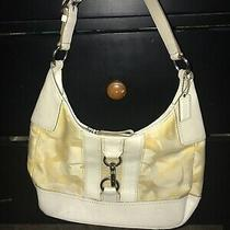 Coach Yellow  Purse Hampton Leather Trim Hobo C Canvas Signature Shoulder Bag Photo