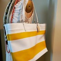 Coach Yellow White Stripe Large Tote Handbag Very Good Condition Retails 200 Photo