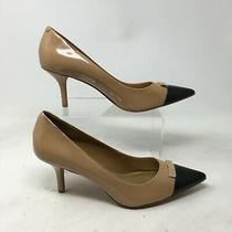 Coach Zan Stiletto Pumps Heels 10b Womens Pointed Cap Toe Leather Beige A4576 Photo