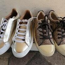 Coach & Zara Trafaluc Womens Size 8 & 39 Monogram Fashion Sneakers Lace Up Shoes Photo