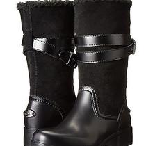 Coach Zena Cold Weather Snow Motorcycle Suede/rubber/shearling Boot Black 7 New Photo