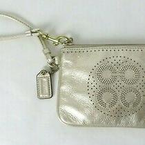 Coach Zip Top Small Wristlet Evening Bag Purse Gold  10800 Photo