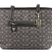 Coach Zip Top Tote in Signature Jacquard Handbag Shoulder Bag Purse Grey Photo