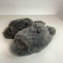 Coach Zoe Gray Faux Fur Shearling Slippers Size 11 New  Photo