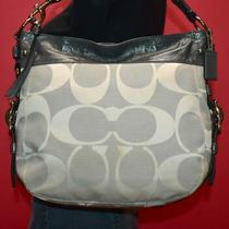 Coach Zoe Gray Signature Patent Leather Jacquard Hobo Shoulder Purse Bag F14631 Photo