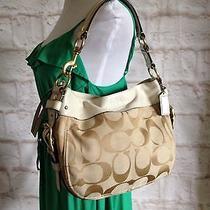 Coach Zoe Ivory Beige Signature Hobo Shoulder Bag Handbag Purse Photo