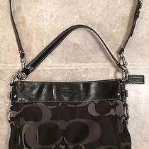 coach black and gray purse vlf2  Coach Zoe Optic Signature Purse Handbag Hobo Cc Black Gray Sateen Leather  Photo