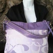 Coach Zoe Purple Lavender Handbag Large Signature Photo