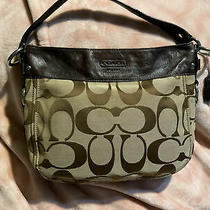 Coach Zoe Signature Hobo Shoulder Bag Brown/khaki Canvas Leather Trim Photo