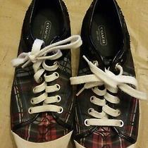 Coach Zorra Black  Pink Plaid Womens Sneaker Canvas Lace Shoes Size 8 1/2 B Photo