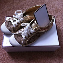 Coach Zorra Sequin Sneakers (A1412) Gold & Khaki Signature Print Photo