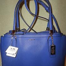 Coach30128 Madison Small Christie Carryall Saffiano Leather Lacquer Blue New298 Photo