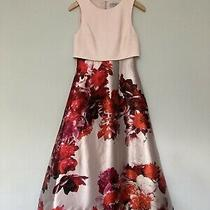 Coast Size 10 Red & Blush Floral Midi Dress Fit and Flare. Full Skirt Sleevl Photo