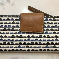 Coated Canvas Fossil Emma Rfid Tab Clutch Wallet Blue Blk Wht Photo