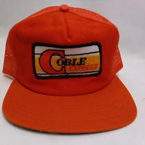 Coble Express Patch Orange Vintage 80s Snapback Foam Trucker Hat Cap New Era Usa Photo