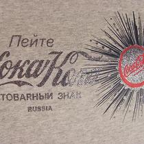 Coca Cola Coke M Knit Top Cap Sleeve T Shirt Russian Gray Heather W Glitter Photo