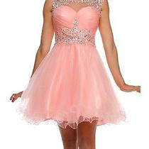 Cocktail Sleeveless Sweetheart Neckline Tulle Prom Short Dress Rhinestone Formal Photo