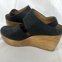 Coclico Harlen Wood Wedge Pup Shoes Black Leather Size 38 / 8 Photo