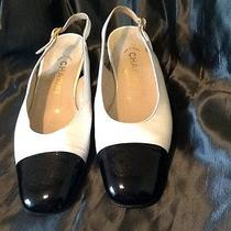 Coco Chanel Black & White Leather Sling Back Pumps 7/8