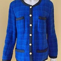 Coco Chanel Boutique Jacket Blazer Coat Blue Tweed Sz 44 12 Classic  Photo